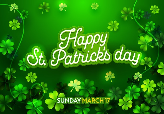 Poster for irish holiday st patricks day with calligraphy text. advertising banner template with lettering typography sign. clover leaf on green background print flat cartoon vector illustration