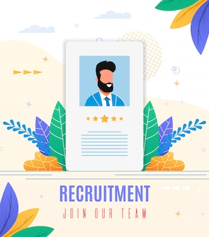 Poster is written recruitment join our team flat.