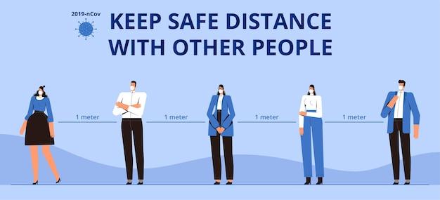 ポスター他の人と安全な距離を保ちます。コロナウイルス流行covid-2019の注意事項。 1メートルの距離でマスクされた人々。平らな