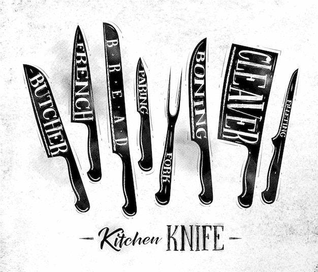 Poster kitchen meat cutting knifes butcher