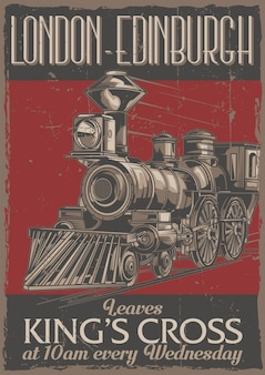 Poster label design with illustration of classic train