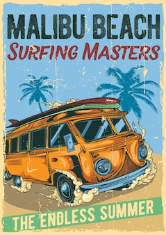 Poster label design with illustration of hippie surfing bus