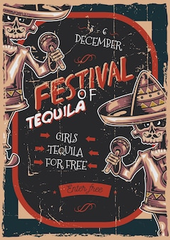 Poster label design with illustration of mexican musician