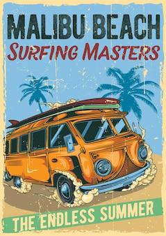 Дизайн этикетки плаката с иллюстрацией хиппи-серфинга на автобусе