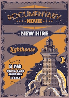 Poster label design with illustration of old lighthouse.