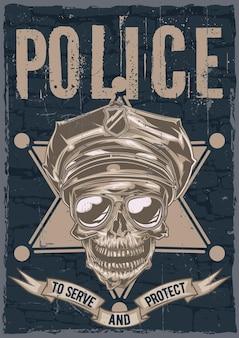 Progettazione di etichette poster con illustrazione del teschio in un cappello della polizia e occhiali da sole