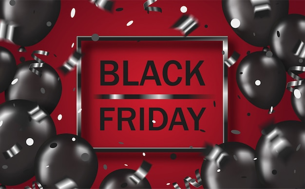 Poster layout black friday with black balloons, confetti, serpentine and frame on red backdrop