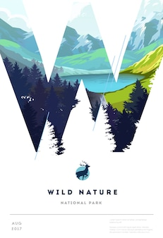 Poster layout template with nature landscape. vector illustration