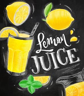 Poster lemon juice drawing chalk