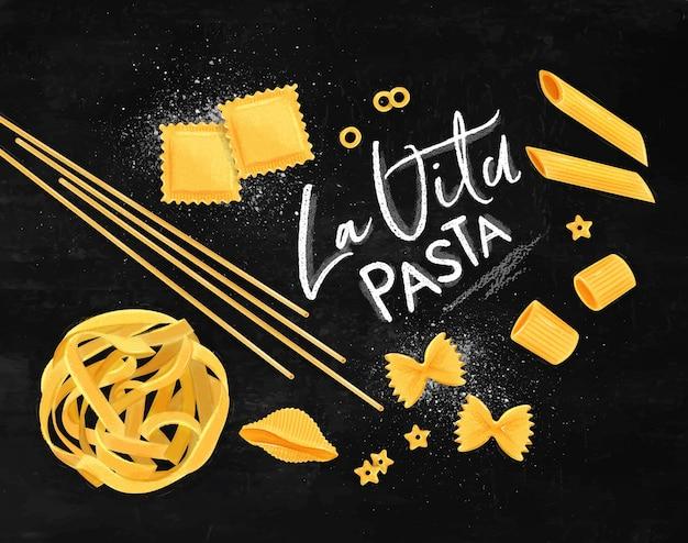 Плакат с надписью la vita pasta с множеством видов макарон, рисунок на меловом фоне.