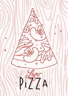 Poster lettering love pizza drawing with coral lines on coral background