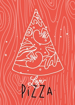 Poster lettering love pizza drawing with grey lines on coral background