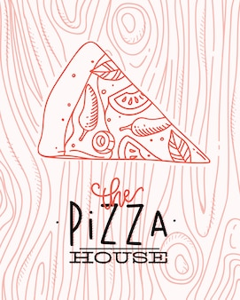 Poster lettering the pizza house drawing with coral lines on coral background