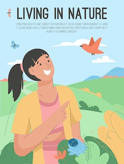 Poster of living in nature concept