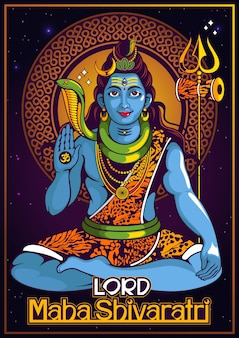 Poster of  lord shiva of india for traditional hindu festival, maha shivaratri