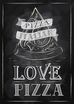 Poster love pizza chalk