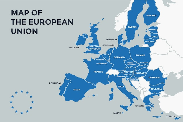 \poster map of the european union with country names. print map of eu for web and polygraphy, on business, economic, political, geography themes.