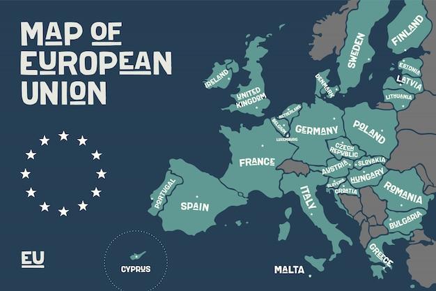 国名が記載されたeuのポスターマップ