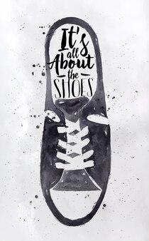 Плакаты мужские спортивная обувь в ретро винтажном стиле надписи