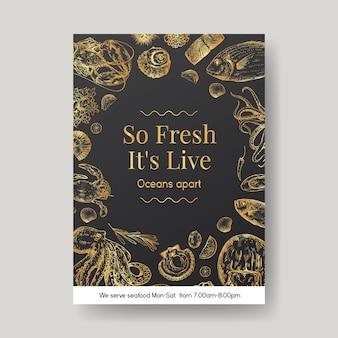 Modello di menu poster con concept design di frutti di mare per pubblicità e illustrazione di marketing
