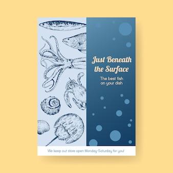 Шаблон меню плаката с концептуальным дизайном морепродуктов для рекламы и маркетинговой иллюстрации