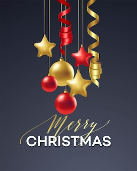 Poster merry christmas holiday. premium calligraphy lettering with gold ornament decoration of golden ball on luxury black background. vector illustration eps10