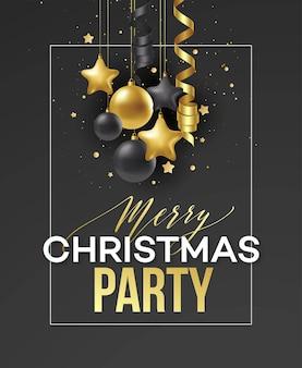 포스터 메리 크리스마스 휴일입니다. 고급스러운 검은색 바탕에 금색 공으로 장식된 고급 서예 글자. 벡터 일러스트 레이 션 eps10