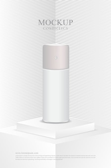 Poster minimalist white mockup cosmetic product