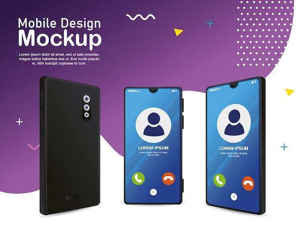 ポスターモバイルデザインのモックアップ、画面上の呼び出しで現実的なスマートフォン