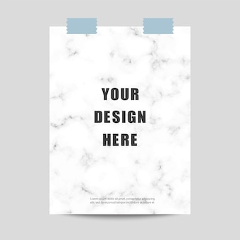 Poster mockup with marble pattern and scotch tape