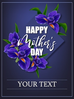 Poster to mother's day with flowers iris