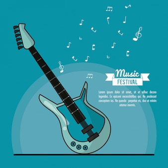 Poster music festival in blue background with electric guitar
