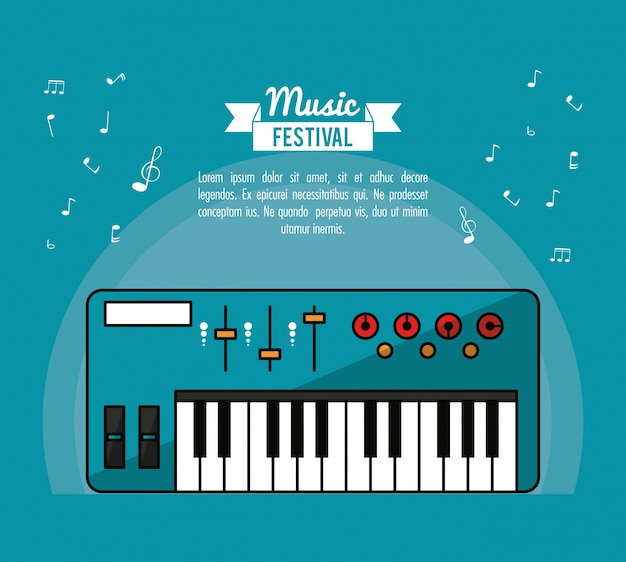Poster music festival in blue background with electronic piano