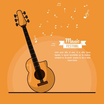 Poster music festival in orange background with acoustic guitar