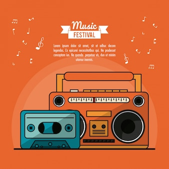 Poster music festival with cassete tape player and cassette tape