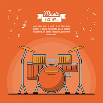 Poster music festival with drums instrument
