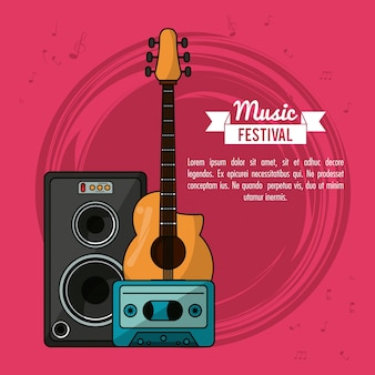 Poster music festival with guitar and speaker box and tape cassette