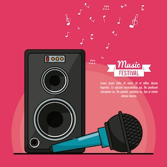 Poster music festival with speaker box and microphone