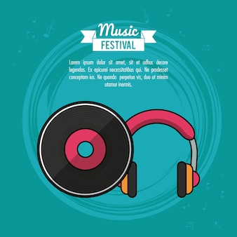 Poster music festival with vinyl lp record and headphones