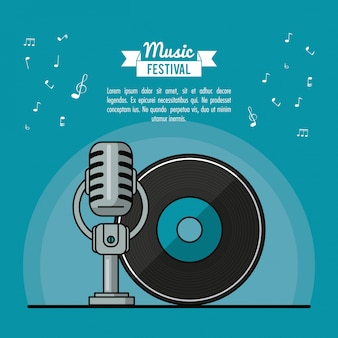 Poster music festival with vinyl lp record and microphone