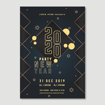 Poster for new year 2020 event with poly effect