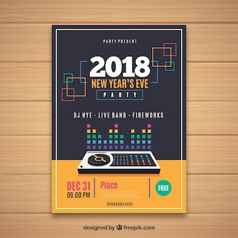 Poster for new year's party with a dj