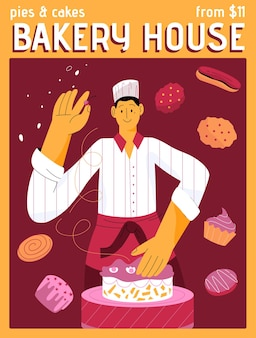 Плакат концепции bakery house cakes and pies