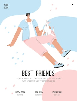 Плакат лучших друзей концепции счастливый парень сидит с собакой