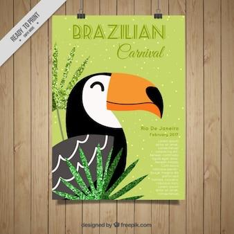 Плакат бразильскому карнавалу с тукан
