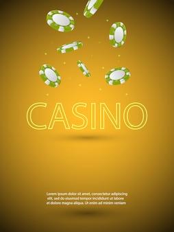 Плакат темы казино с блестящей неоновой световой буквой и падающими красочными фишками. азартные игры