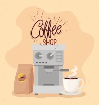 Плакат кофейни с кофеваркой, сумкой и дизайном иллюстрации чашки