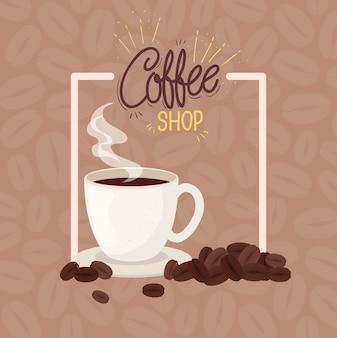 Плакат кофейни с чашкой керамической иллюстрации дизайн