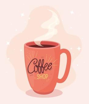Плакат кофейни с керамической иллюстрацией кружки