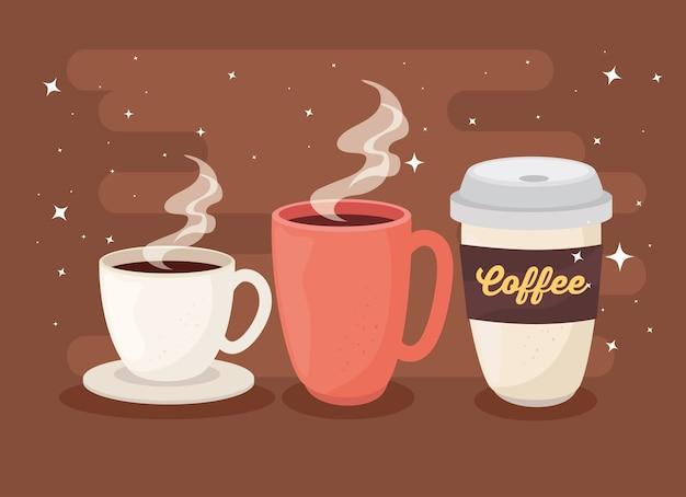 Плакат кофе с чашкой, кружкой и одноразовым дизайном иллюстрации